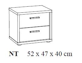 Nachtkastje 52x47x40cm grijs spaanse eik kamer geert ref g 229349 paradisio - Nachtkastje eik ...