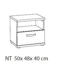 Nachtkastje 50x48x40cm grijs latvia eik kamer swing ref g 255098 paradisio - Nachtkastje eik ...