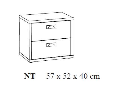 Nachtkastje 57x52x40cm grijs witte eik kamer rana ref i 269151 paradisio - Nachtkastje eik ...