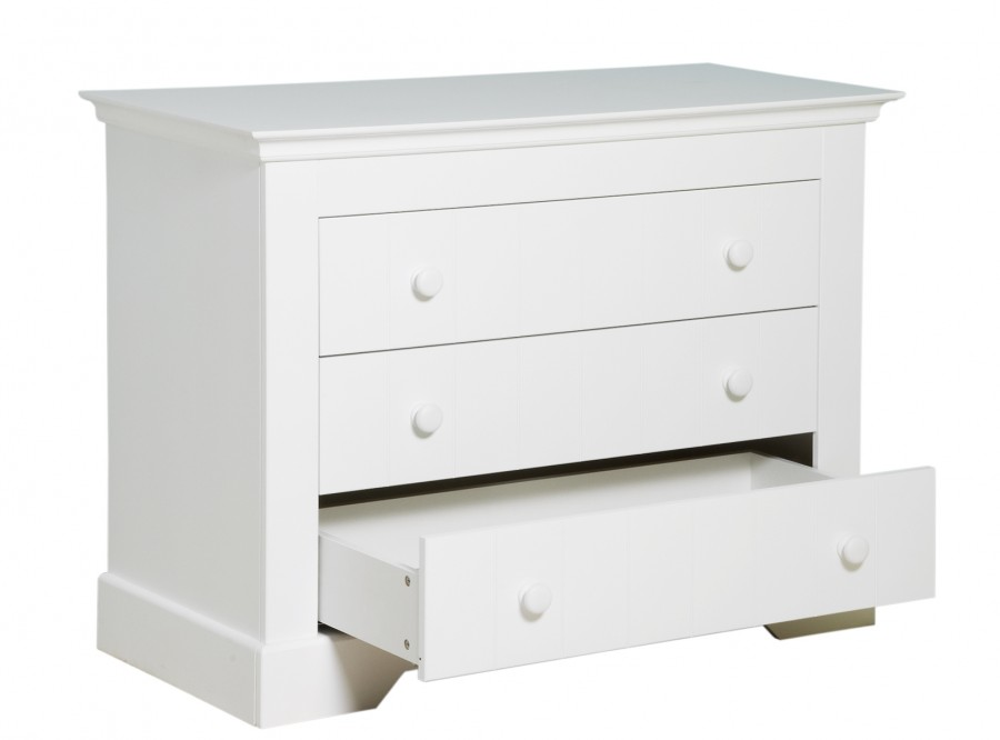 Commode 3 Laden 124x92x55cm Wit White Kamer Narbonne