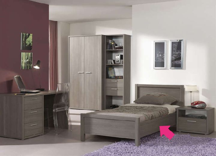 eenpersoonsbed matrasmaat 90x200cm grijs grijze berk kamer luca ref i 159905 paradisio. Black Bedroom Furniture Sets. Home Design Ideas