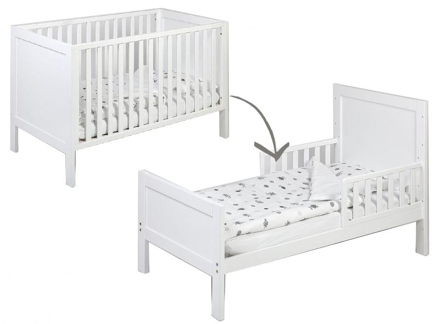 Te Koop Babybedje.Babybed Omvormbaar Tot Juniorbed Matrasmaat 70x140cm Wit Kamer Loft