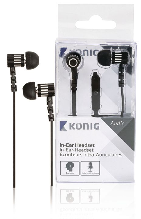 VALUELINE Headset, KONIG In-ear headset zwart 10mm