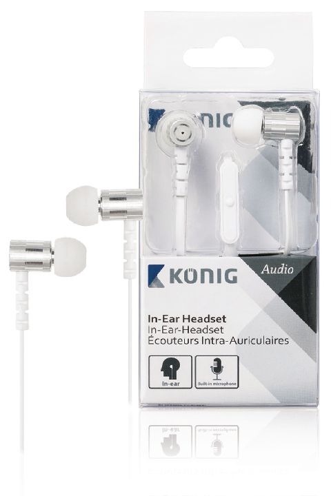 VALUELINE Headset, KONIG In-ear headset wit 10mm
