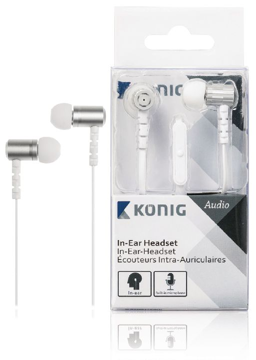 VALUELINE Headset, KONIG In-ear headset wit 13mm