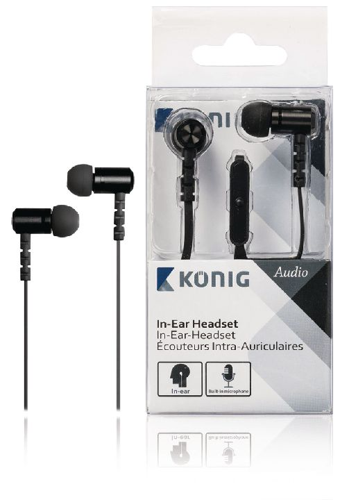 VALUELINE Headset, KONIG In-ear headset zwart 13mm