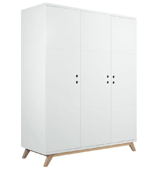Kast<BR>3 deurs 150x200x60cm<BR>wit/ecru, wit/naturel<BR>Kamer Lynn ...