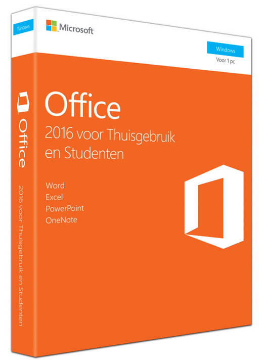 MICROSOFT Software, Microsoft Office Home&Student  2016 Medialess 32b/x64 NL 1PC Box pack
