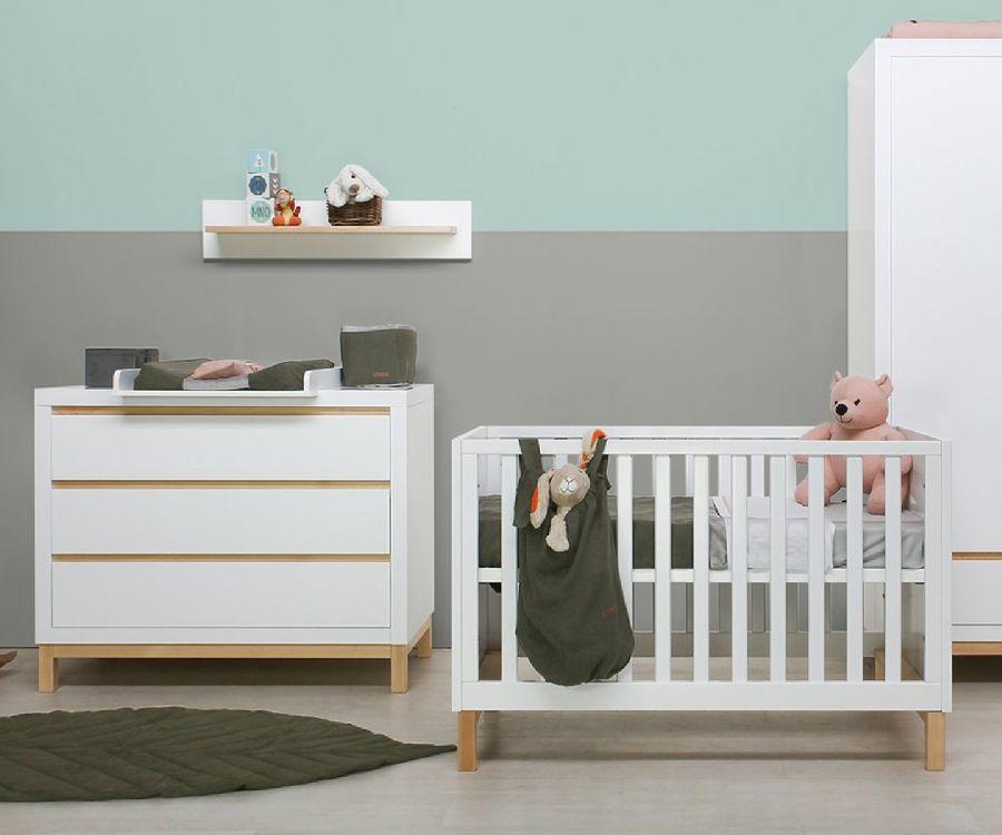 Babybed Met Kast.Kamer Yuna Wit Bruin White Natural 4 Delig Babybed Commode